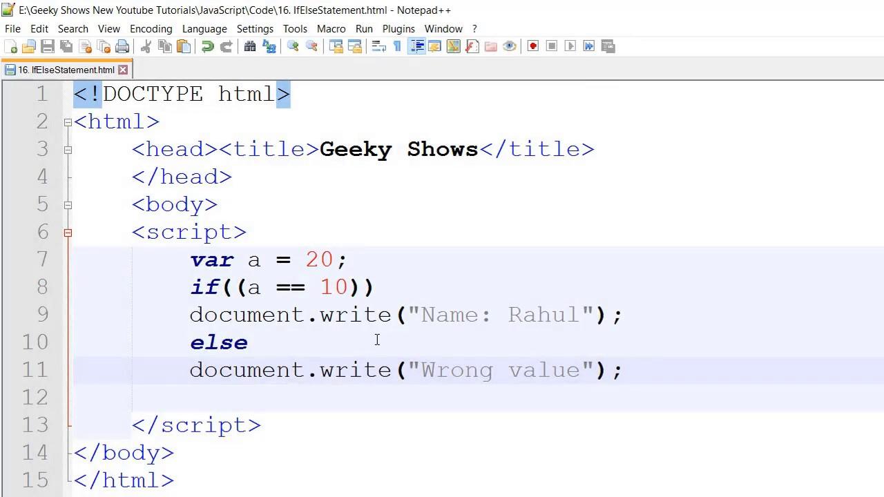 Javascript beginner tutorial 16 - if else statements - YouTube