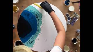 Large ACRYLIC POUR Tutorial    Geode Style    With real precious stones