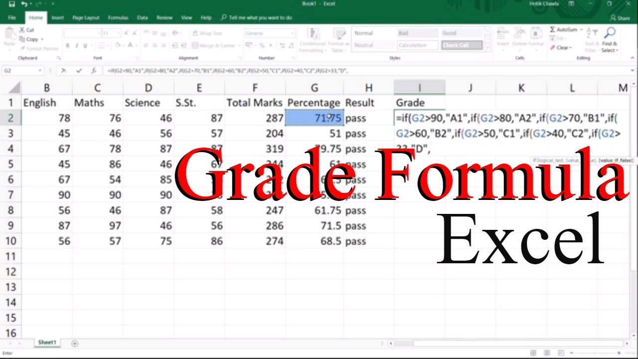 Excel Grade Formula In Hindi    ThePc Learnerss   YouTube