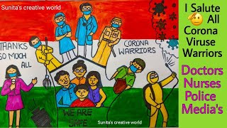 Coronavirus Warriors Poster Thanks Ginving Drawing for all Coronavirus Warrious Coronavirus awarenes