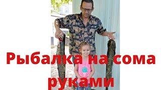 Рыбалка на сома раков руками Поймал ооочень большую рыбу влогрыбалка повезло на рыбалке июнь 2021