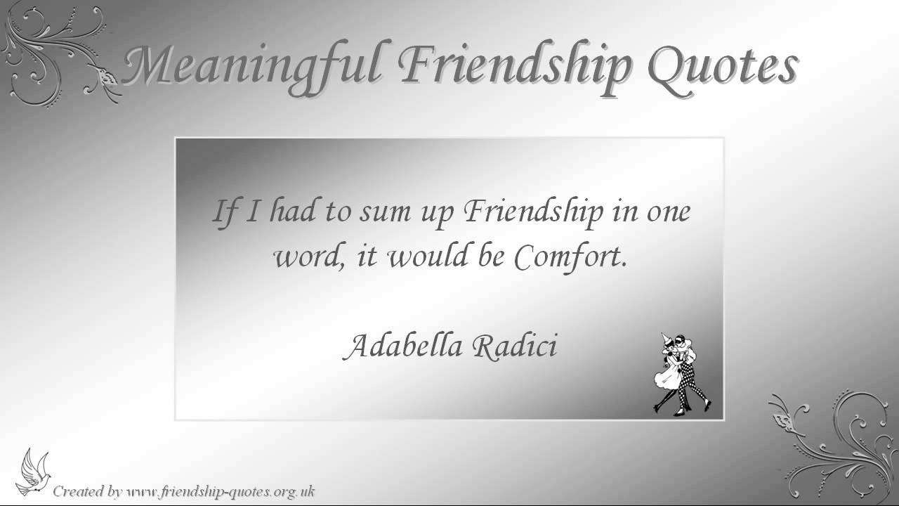 Meaningful Quotes About Friendship Alluring Meaningful Friendship Quotes  Youtube