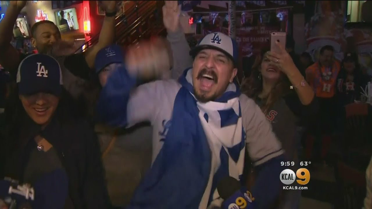 Dodgers Fans In Houston Celebrate Big Game 4 Win