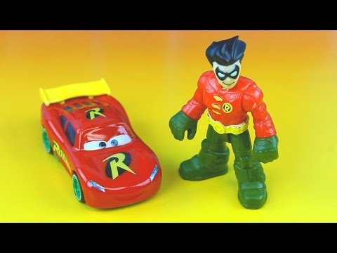 Disney Pixar Cars Lightning McQueen as RobinCar McQueen save Batman, Spiderman Gotham City Jail