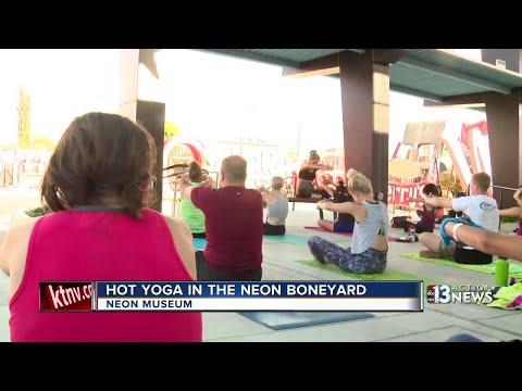 Hot yoga in the Boneyard at the Neon Museum in Las Vegas