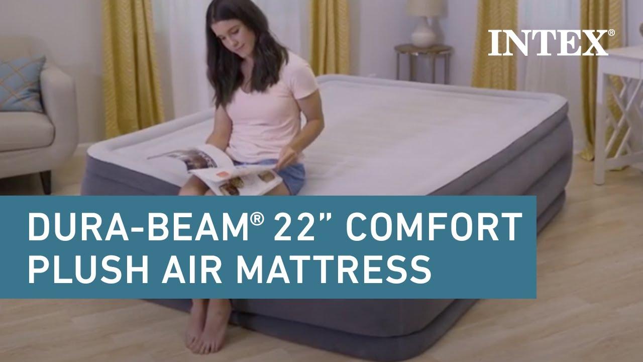 Intex 22in Dura Beam Plus Comfort Plush Airbed Youtube