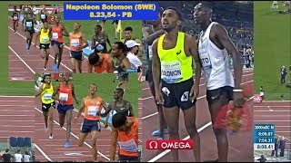 Napoleon Solomon 8.23,54 - PB - 3000 m hinder - 31 maj 2018 - Golden Gala (DL), Rom, ITA