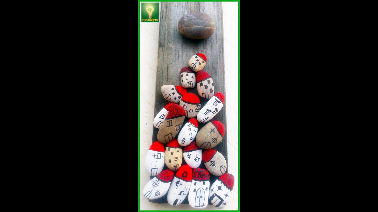 Cuadro palet con piedras decoradas youtube for Plantas decoradas con piedras