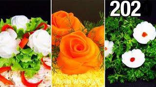 Самые простые УКРАШЕНИЯ БЛЮД для праздничного стола КРАСИВЫЕ ЦВЕТЫ для праздничных блюд на новый год