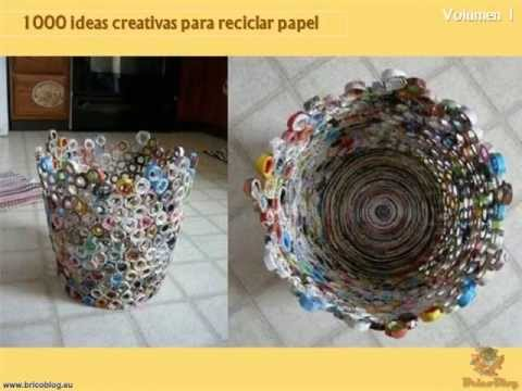 1000 manualidades creativas reciclando papel youtube for Decoracion del hogar reciclando