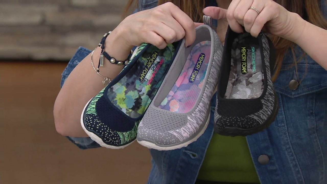 9c8ec7600cc97 Skechers Microburst Flat Knit Skimmers - Perfect Note on QVC - YouTube