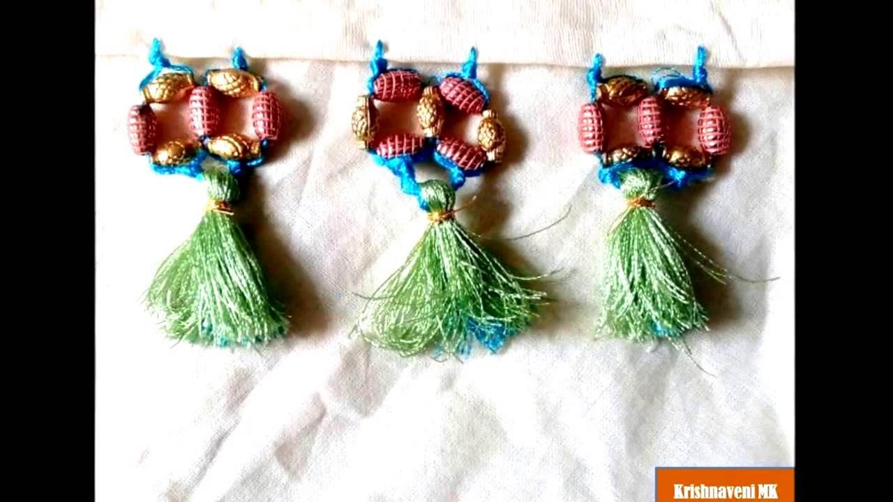 New Style of Saree Tassel/Kuchu Design with Beads - YouTube