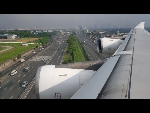Philippine Airlines Airbus A340-343 landing at NAIA (MNL:RPLL RWY 24)