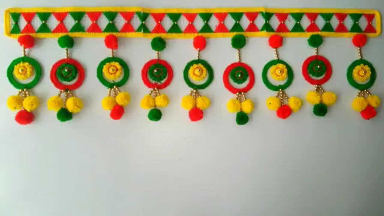 Diy Beautiful Door Hanging Toran From Woolen Awesome Bangles Idea