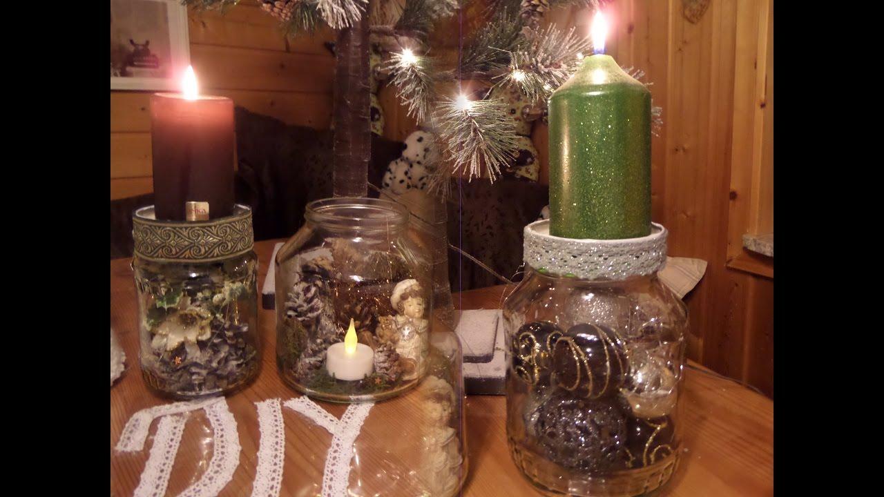 DIY 3 Kerzenstnder DEKOGLSER  AdventskranzWeihnachts BASTELNUpsycling by kekaplauderei
