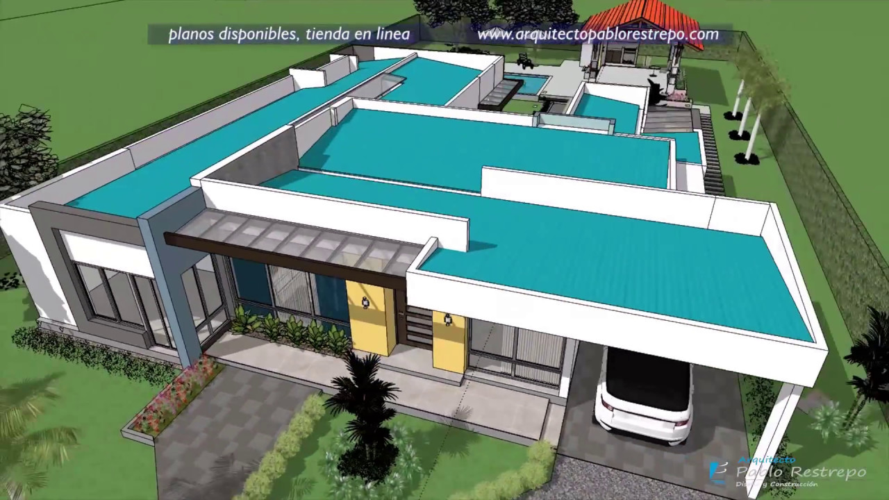 Casa moderna de un piso con 4 dormitorios rea construida - Medidas de piscinas de casas ...