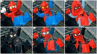 All SPIDER-MAN MOVIE Suits in LEGO Marvel Super Heroes Cutscene (MCU / Sony)