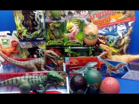 Dinosaurs JURASSIC WORLD - Dinosaur Eggs And Dragon Toys -Velociraptor Surprise Toys Kids Video