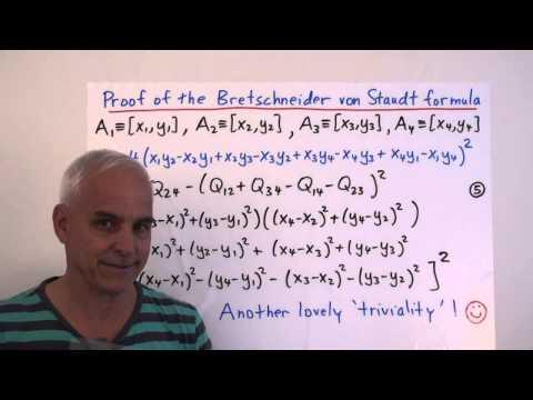 MathFoundations132: The Bretschneider von Staudt formula for the quadrea of a quadrilateral