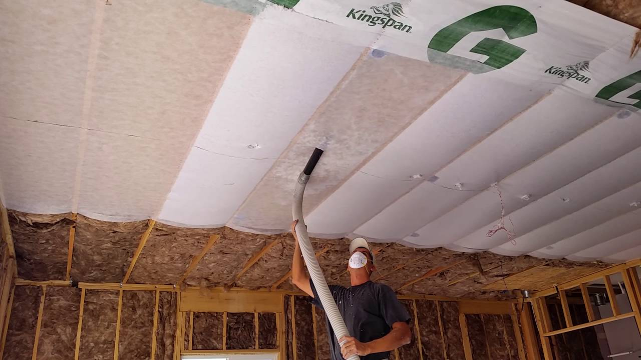 Insulation Being Blown In The Garage Youtube