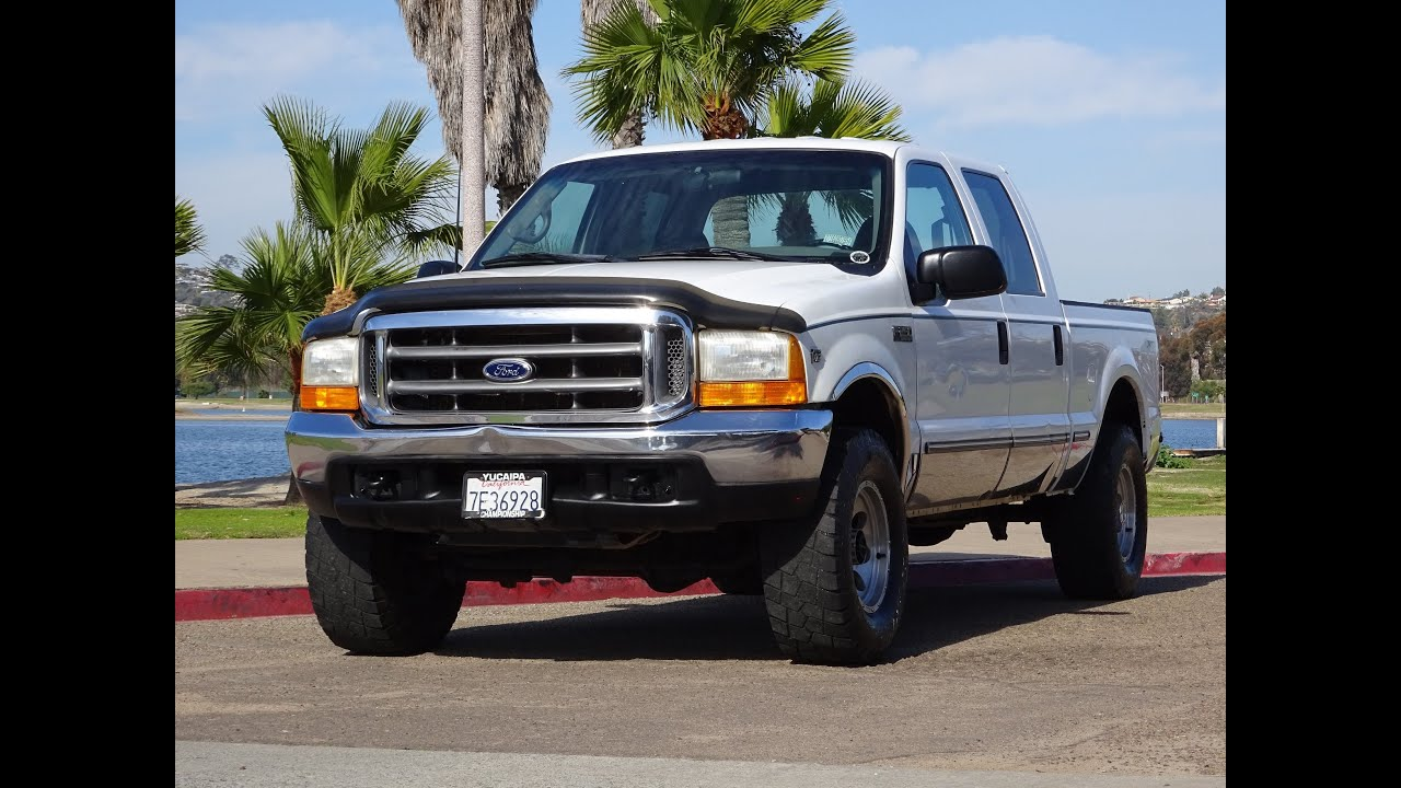 1999 ford f250 v10 6 8l gas crew cab 4x4 xlt california truck 35 tires for sale youtube