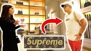 wearing fake supreme louis vuitton to the louis vuitton store gone wrong