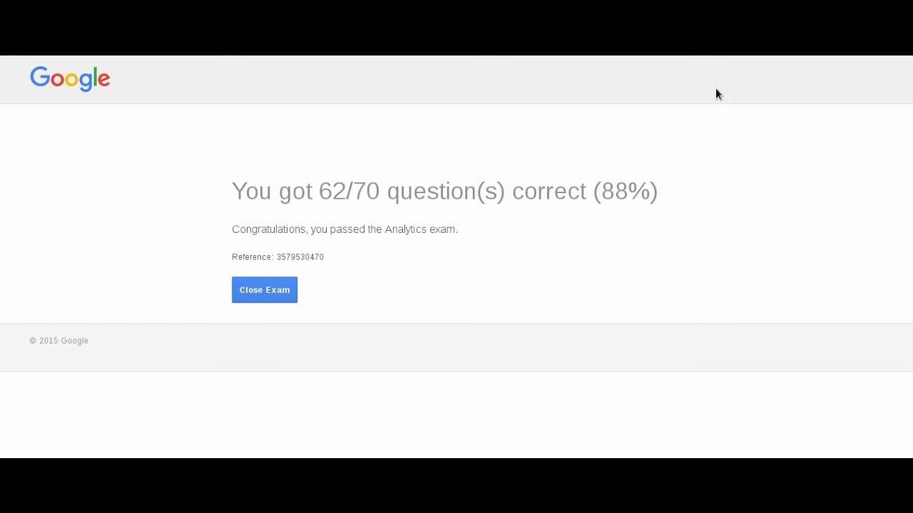 Google Analytics Certification Exam August 2016 Youtube