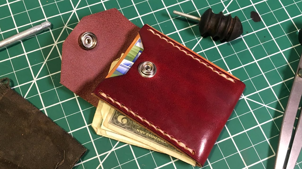 Making a Leather Minimalist Button Snap Wallet