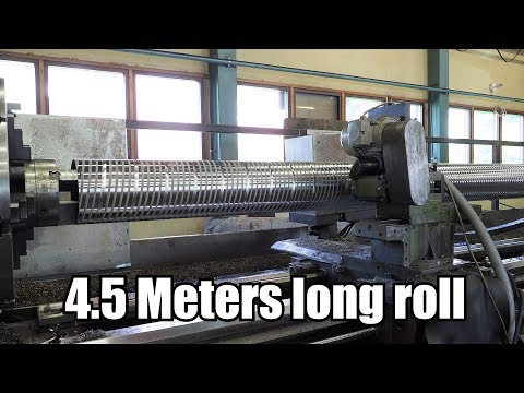 Machining Huge Multi-Start Thread Roll with Giant CNC-Lathe