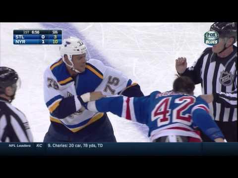 Dylan McIlrath vs Ryan Reaves fight. St. Louis Blues vs NY Rangers Nov 3 2014 NHL