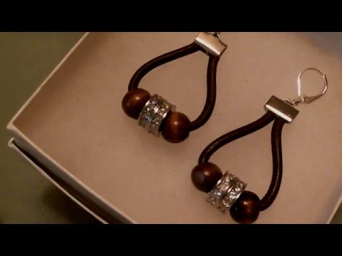leather hoop earrings with big hole beads - YouTube