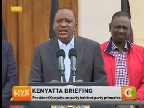 President Uhuru Kenyatta briefing from State House on Jubilee Primaries