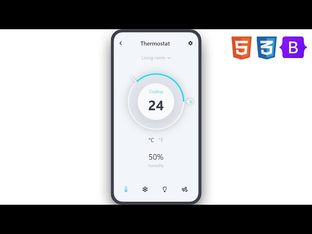 Thermo Stat App | UI Design to HTML, CSS Using Bootstrap 5 | Conic Gradient