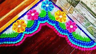 Diwali/lakshmi pada corner rangoli/border rangoli designs