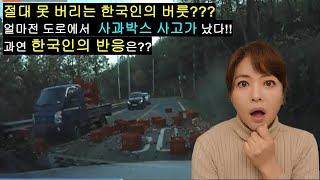 한국인의 절대 못 고치는 습관?? 얼마전 도로에 사과 …