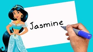Disney Princess - HOW TO TURN WORDS Jasmine INTO CARTOON - Theakashcreations