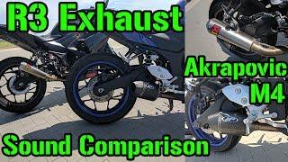 Yamaha R3 Exhaust Comparison Akrapovic vs. M4