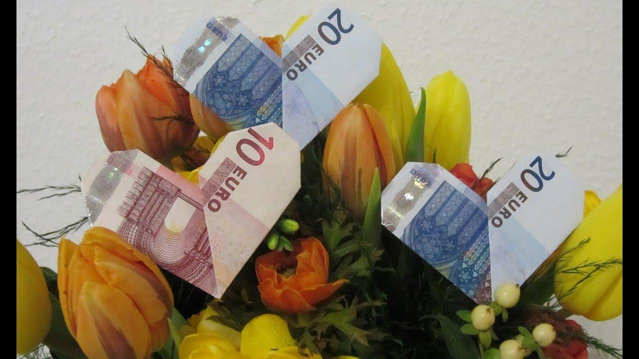 Herz aus einem geldschein einfach falten origami youtube for Geschenk fa r onkel basteln
