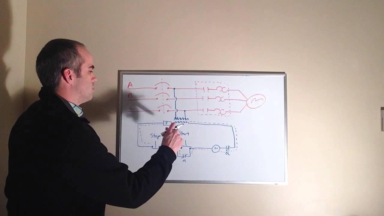 Single Phase Contactor Wiring Diagram Simple Of Fridge Motor Controls: Basic Start/stop Circuit - Youtube