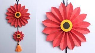 DIY Easy Paper Flower Wall Hanging Decoration // DIY Room Decor Crafts || DIY Projects // #DotsDIY