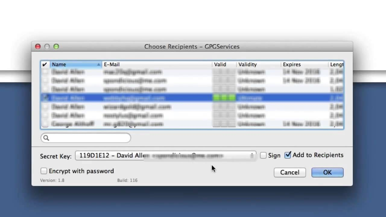 GPGTools encrypt text selection and Setting up services