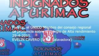 Se pronuncia el Único mienbro del consejo regional por el colegio de Alto Rendimiento de Apurimac