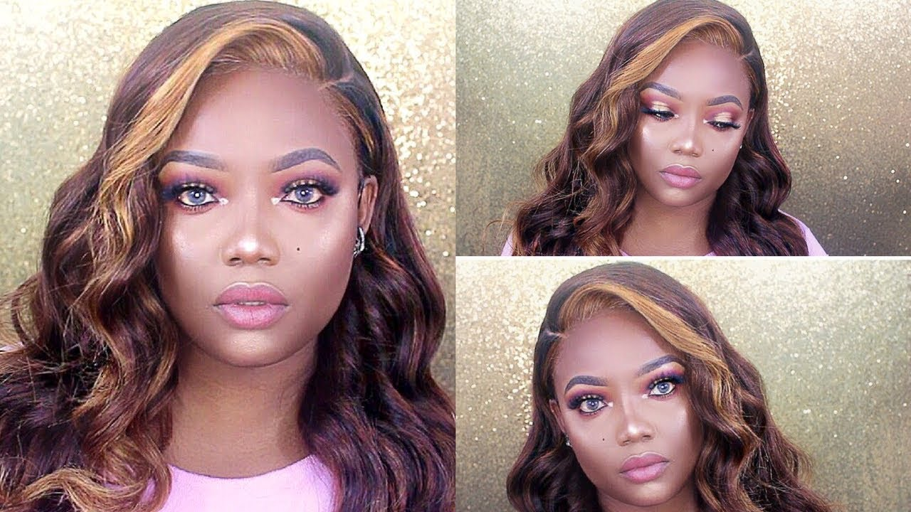 How To Slay Frontal Wig Chestnut Brown With Honey Blonde Highlights
