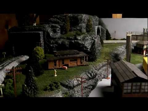 HO Scale Model Train Set-Up Scratch Built Featuring Amtrak Passenger Train & Chessie Freight