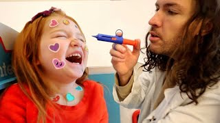 Adley has STiCKER POX!!  Brave Doctor visit with Nurse Mom and 2 Shots from Dr Dad new play pretend