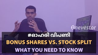 Bonus Share Issue vs. Stock Split: Comparison Of Stock Split & Bonus Issue [MALAYALAM / EPISODE #73]
