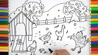 How To Draw A Turkey - Farm Coloring Pages For Kids