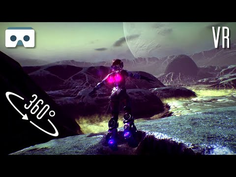360 Virtual Reality 3D video: space girl  exploration of an alien planet. For Samsung Gear VR Box