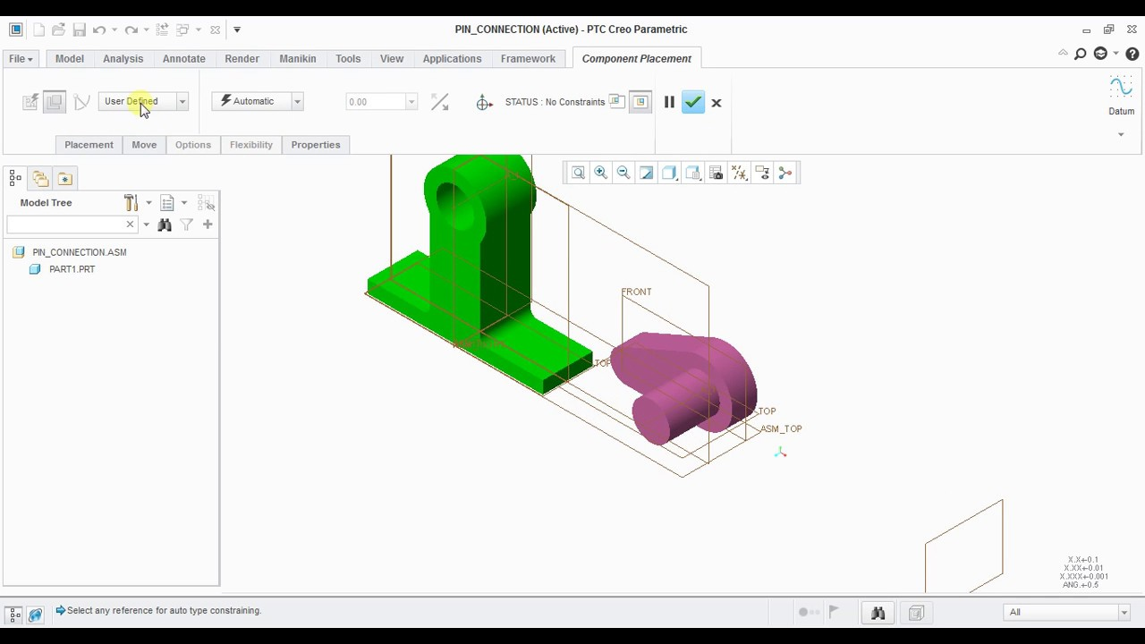hight resolution of pin connection using ptc creo