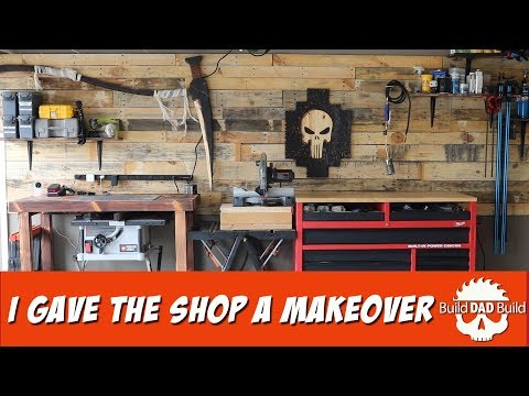 DIY Garage Shop with Pallet Wood Shiplap Wall